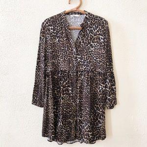Zara Leopard Print Shirtdress XS
